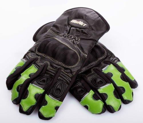 WinNet guanti da moto in pelle e cordura con protezioni sulle nocche e dita verde Kawasak