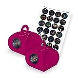 itenga SET Schulanfang (Motiv 88) 24x Geschenkschachtel mit Griff pink + Stickerbogen