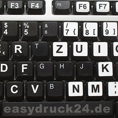 Preisvergleich Produktbild Beschriftung für Deutsche Tastatur, Großbuchstaben, weiße Tastaturaufkleber mit schwarzen Buchstaben, sehbehindert, schwach sehen - perfekt für jedes Keyboard, hin_183
