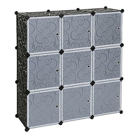 Songmics Interlocking Storage Cube Organiser Shelf / Shoe Rack / Wardrobe Cabinet 112 x 112 x 37 cm Black