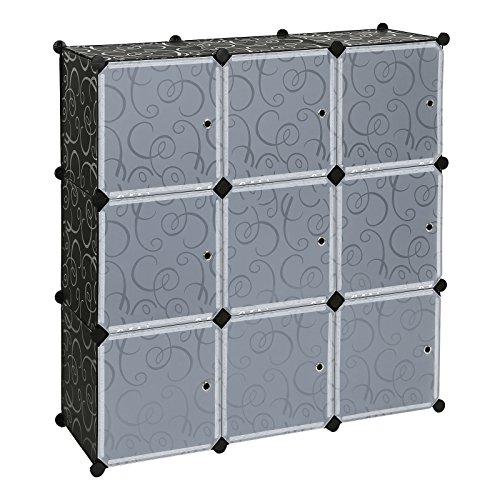 Songmics Regalsystem Aufbewahrung Badregale Kleiderschrank Schuhregal Sideboard Kommode Kapazität 450L Schwarz 112 x 112 x 37 cm LPC116
