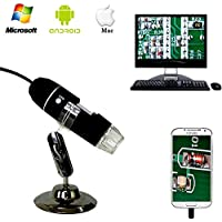 Jiusion 40 - 1000x Vergrößerung Endoskop, 2 MP 8 LED USB 2.0 Digital Mikroskop, Mini Kamera mit OTG Adapter und Metall Standfunktion, kompatibel mit Mac Window 7 8 10 Android Linux