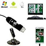 Jiusion 40 a 1000 x ingrandimento USB microscopio digitale endoscopio, 2 MP 8 LED USB 2.0, mini videocamera con adattatore OTG e metallo supporto, compatibile con Mac e Windows 7 8 10 Android Linux