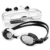 StillCool Occhiali da nuoto, Occhialini da Nuoto a specchio anti UV, anti appannamento per bambini con Clip per Naso e Tappi per Orecchie (nero)