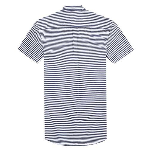 Honghu Herren Casual Streifen Kurze Ärmel Hemd Grau
