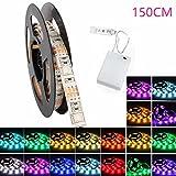 Glisteny LED-Leuchtstreifen, flexibel, batteriebetrieben, 5050SMD, mehrfarbig, wasserfest, Beleuchtung für Innenbereiche, festliche Dekobeleuchtung 150cm Ruban