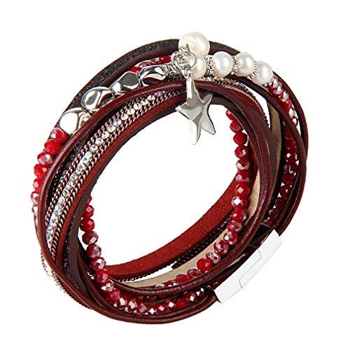 JOYMIAO Leder Seil geflochten Armband Kristall Perle Charme Leder Armbänder Multi-Layer-Leder Wrap Manschette Armreif mit Magnetverschluss für Frauen (Rot)