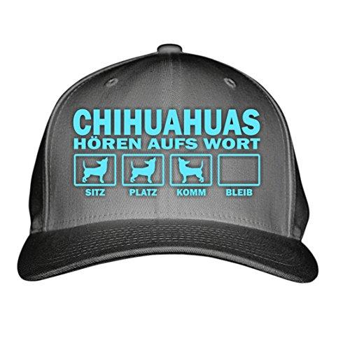 HUAHUA mexiko klein LANGHAAR Kurzhaar (Chiwawa) - HÖREN aufs WORT - Baumwoll 6-Panel dark grey- türkis (Mexiko-baseball-cap)