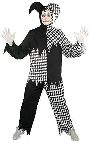 Foxxeo 40254 I Horror Clown Harlekin Hofnarr schwarz weiß Kostüm für Herren Halloween Gr. M-XXL, (Harlekin Clown Kostüme Erwachsenen)