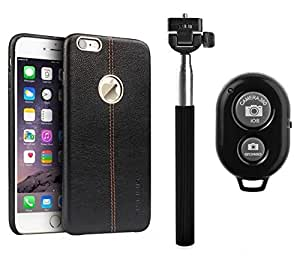 YGS Vorson Lexza Series Double Stitch Leather Shell with Metallic Logo Display Back Cover For Apple iPhone 6s -Black With Selfie Stick and Bluetooth Shutter Remote