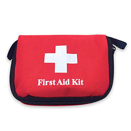 E-CHENG First Aid Kit, Small Emergency Medical Survival Bag Travel Medical Nylon Rescue Package for Hiking, Backpacking, Camping, Travel, Car & Cycling.(Red)