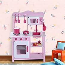 Homcom - Cucina Giocattolo per Bambini in Legno Rosa 60 x 30 x 84.5cm