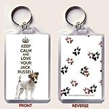 a schlüsselanhänger mit a bild von a JACK RUSSELL Terrier Hund mit dem spruch BEWAHREN SIE DIE RUHE UND LIEBE IHRER JACK RUSSELL aus unseren einzigartigen KEEP CALM AND CARRY ON palette An Geburtstag/