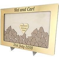 Caja de espejo dorado de buzón para regalos de boda personalizada con marco de corazones