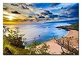 Berger Designs Wandbild auf Leinwand als Kunstdruck in Verschiedenen Größen. Sonnenuntergang am Strand von Hawaii Waimea Beach Oahu. Beste Qualität aus Deutschland (60 x 40 cm BxH)