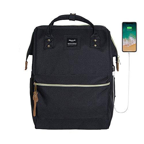 Himawari Polyester Laptop Daypack Vintage Schultertasche Für 14-Zoll Laptop (Schwarz-USB)