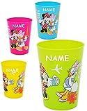 1 Stück _ 3 in 1 - Trinkbecher / Zahnputzbecher / Malbecher - Becher - ' Disney Minnie Mouse ' - incl. Name - 280 ml - Trinkglas aus Kunststoff Plastik - für Kinder - Mädchen - Campingbecher / Campinggeschirr - Plastikgeschirr mehrweg - Kindergeschirr - Kinderglas - Kinderbecher Camping Set / Plastikbecher - Kunststoffbecher / Trinklernbecher bunt - Geschirr - Maus / Playhouse - Daisy Mickey - Blumen Herzen