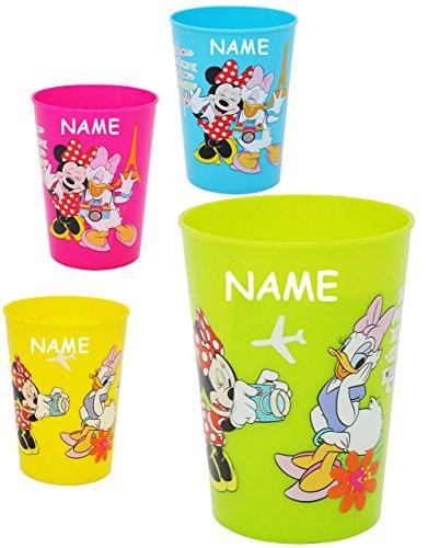 3 Stück Glas-schreibtisch (alles-meine.de GmbH 2 Stück _ 3 in 1 - Trinkbecher / Zahnputzbecher / Malbecher - Becher -  Disney Minnie Mouse  - incl. Name - 280 ml - Trinkglas aus Kunststoff Plastik - für ..)