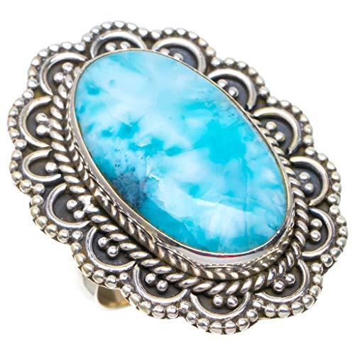 925er Sterling Silber Larimar Einzigartig Handgefertigt Ringe 17 1/4 Blue N539