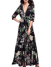 Azbro Mujer Vestido Maxi Estilo Boho Estampado Floral Cintura Elástica Cuello V