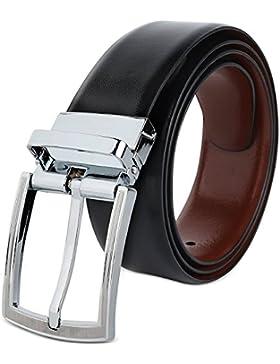 Hawkins And Jenkins Cinturón Casual Formal Reversible en Marrón y Negro para Hombres (DOS EN UNO) de Genuino Completo...