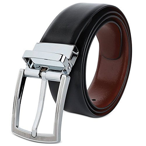 Hawkins And Jenkins Black and White Reversible Formal Casual Belt for Men (TWO IN ONE) Genuine Full Natural Leather with Swivel Buckle (105 cm / 38 Inches)