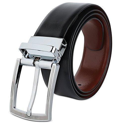 Hawkins And Jenkins Mens Reversible Black & Brown (TWO IN ONE) Genuine Leather Twistable Buckle Casual Formal Belt