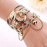 Uhren Damen, HUIHUI Geflochten Armbanduhren Günstige Uhren Wasserdicht Beliebte Casual Strass Rivet Kette Quarz Armband Armbanduhr Luxus Armband Coole Uhren Lederarmband Mädchen Frau Uhr (D)