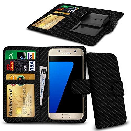 N4U Online® Apple iPhone 6 Plus PU-Leder-Clip-Mappen-Kasten-Abdeckung mit Kreditkarte, Notes & ID Slots - Kohlenstoff-Faser (6 Fall Plus Kohlenstoff-faser Iphone)