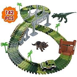 Nuheby Circuit Dinosaure Voiture Flexible Jeu Educatif Creation Enfant 3-4-5 Ans, Vert - 142Pièces - version anglaise