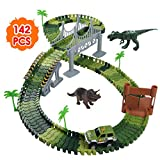 Nuheby Pista Macchinine Dinosauro Giocattolo Auto Giocattolo Pista Flessibile con Blocchi Traccia per Bambini Regalo Ragazza Ragazzo 3,4,5,6 Anni,142 Pezzi