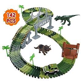 Nuheby Pista Macchinine Dinosauro Giocattolo Auto Giocattolo Pista Flessibile con Blocchi Traccia pe