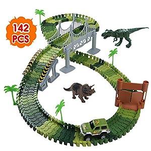 Nuheby Pista Macchinine Dinosauro Giocattolo Auto Giocattolo Pista Flessibile con Blocchi Traccia per Bambini Regalo… 4 spesavip