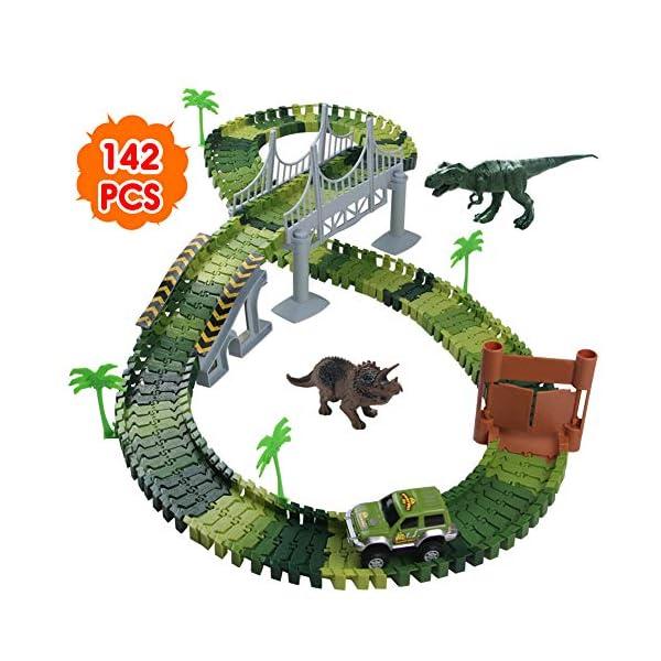 Nuheby Pista Macchinine Dinosauro Giocattolo Auto Giocattolo Pista Flessibile con Blocchi Traccia per Bambini Regalo… 1 spesavip