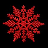 Pack of 6 Glitter Snowflake Christmas Tree Hanging Decorations (Red)