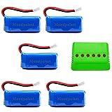 Mondpalast @ Lipo Batterie Batteria 3,7V 500mAh x5+ 6 in 1 Caricabatterie per RC radiocomandato Quadcopter F180C JJRC H37 H6D H6C H31 Hubsan X4 H107C H107D H107L H107P H108 JXD392 388 Wltoys V939 V252 UDI U816A Walkera Super Mini Genius CP FPV Drone immagine