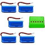 Mondpalast @ Batería Lipo de repuesto 500mAh 3,7V x5 + 6 en 1 Cargador para RC Cuadricóptero F180C JJRC H37 H6D H6C H31 Hubsan X4 H107C H107D H107L H107P H108 JXD392 388 Wltoys V939 V252 UDI U816A Walkera Super Mini Genius CP FPV Drone
