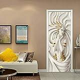 Manyo. 2 Pcs Stickers Porte Chambre 3D, Autocollants de Porte Stéréo 3D- Déesse, Papier Peint Adhesif Porte Trompe l'oeil Mural 77 x 200 cm