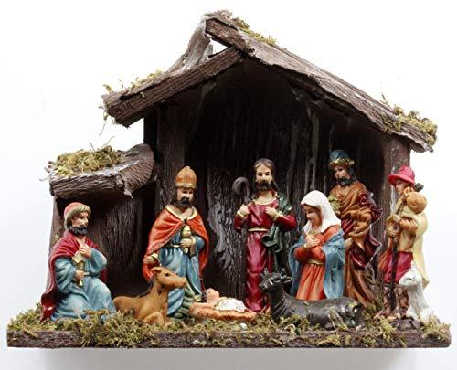 Haus und Deko Krippe mit Moos Premium 16x20x9,5 cm Weihnachtskrippe bemalt Weihnachten Dekoration