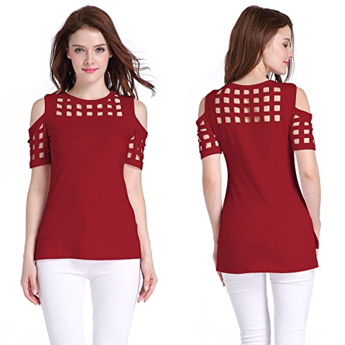 Red Western Shirt Womens (YLSZ-Sau San Western Kurze Ärmel  TT-Shirt ,Xl Wine red)