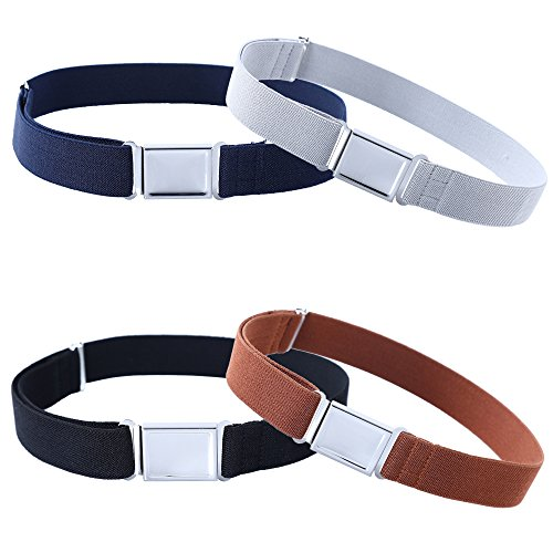 Kajeer 4 Stück Gürtel für Jungen Mädchen Verstellbar - Großer Elastischer Stretchgürtel mit einfacher Magnetschnalle für 2-15 jährige Jungen und Mädchen (Navy blau/Schwarz/Kaffee/Hellgrau) - Verstellbare Taille Smoking Hosen