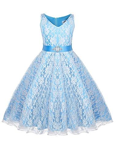HOTOUCH Mädchen Festlich Kleid Hochzeit Festkleid mit Pailletten für Kinder Prinzessin Kleid...