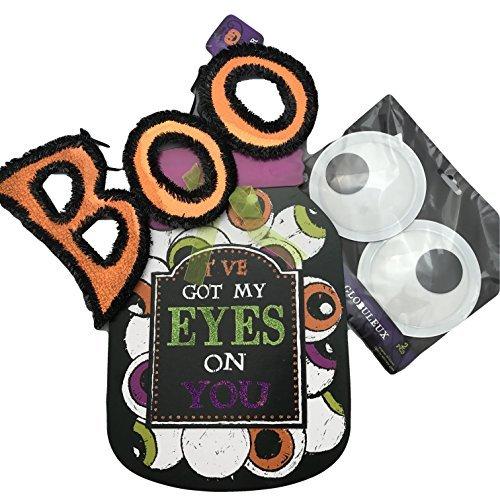 Greenbrier Halloween Google Eye Bundle mit Boo-Hängeschild, Holzbehälter, Wandaufhängung und 1 Set großer Google Eyes (Erwachsene Halloween-leckereien Für)