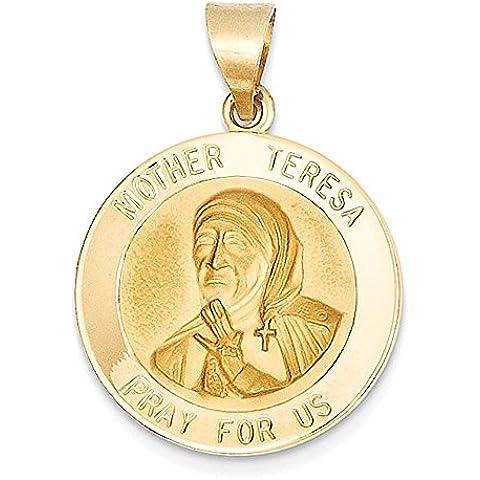 14k lucido e satinato Madre Teresa Medaglia Ciondolo