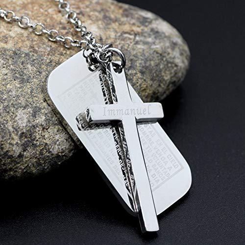 Halsketten für Herren Men Es Edelstahl Cross Pendant Silver Dog Tag Cross Kreuzung Englische Bibel Epigraph Für Lords Prayer (Dog Silver Tags)