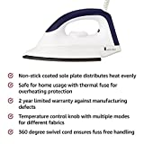 Amazon Brand - Solimo 1000-Watt Dry Iron (White and Blue)
