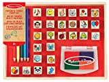 Melissa & Doug Wooden Favourite Things Stamp Set (Arts & Crafts, Sturdy Wooden Storage Box, Washable Ink, 26 Pieces, 26.543 cm H x 20.955 cm W x 4.064 cm L)