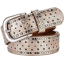 Cinturon de mujer Cinturón de cuero para mujer Aleación Hebilla de metal  Cinturón con incrustaciones de b7a0ea0f213b