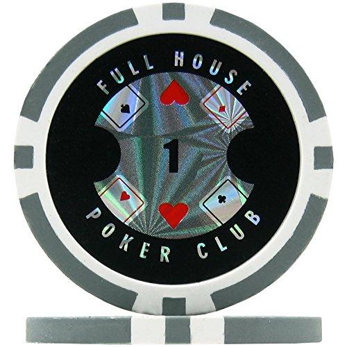 Premier Poker Chips UK Full House Poker Club Poker Chips - Grey 1 (Roll of 25), 14g Clay Composite