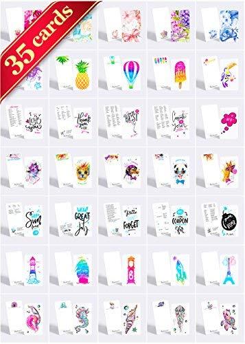 Tiny Love Karten-Set of 35Cute Mini Karten für handschriftlicher Notizen-Jede Gelegenheit-5,1x 8,9cm klein Note Karten (Sortiment) -